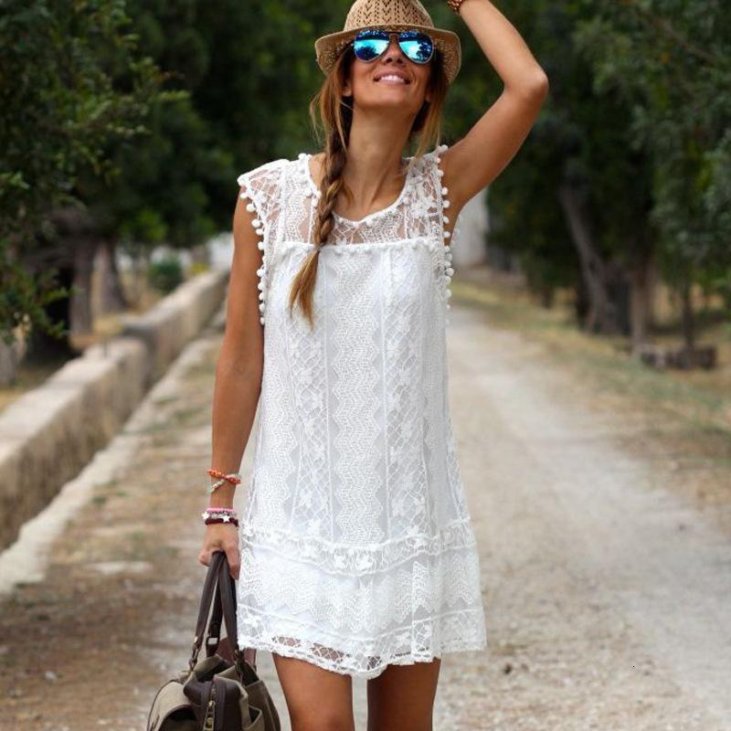 Kleider Weißer Spitze Hairball Elegante ärmellos mit Futter
