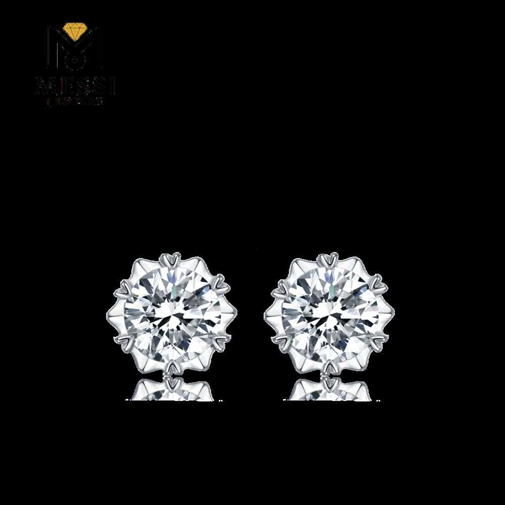 Msi Jewelry gold plated 0.5ct DEF VVS 925 sterling sier stud moissanite earrings