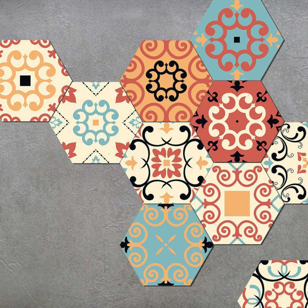Adesivos decorativos seis lado amj auto famílico marroquino adhive parede toalete banheiro impermeável desgaste piso de cerâmica telha pasta