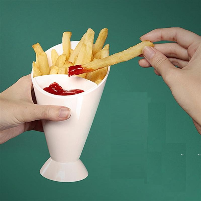 فرايز برميل الفرنسية frie سلة فرايز دلو مزدوج وقوي مربع فرايز مع الكاتشب FWF7818