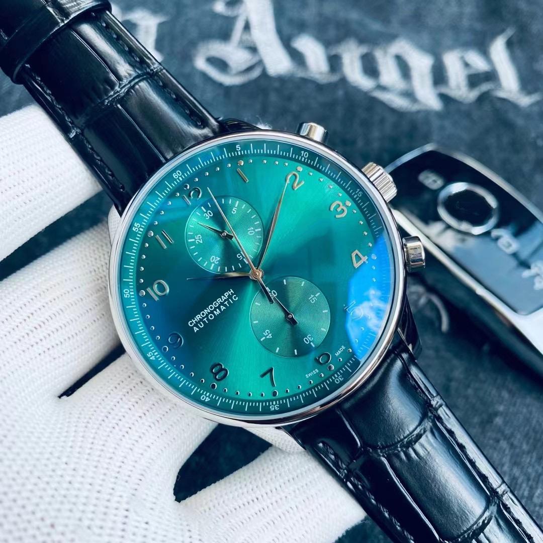 최고 품질의 남자 시계 40mm 캐주얼 스타일 기계 자동 시계 가죽 스트랩 손목 시계 녹색 다이얼 057