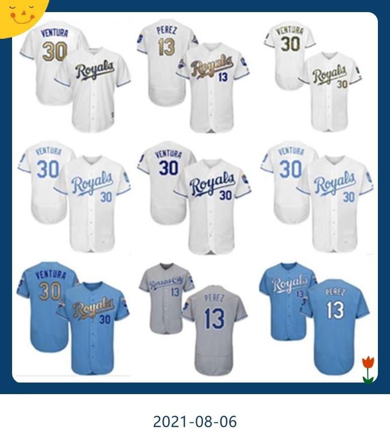 Erkek Kadın Gençlik KC Royals Jersey # 30 Yordano Ventura Beyzbol Giyim 13 Salvador Perez Ev Mavi Beyaz Gri Formalar