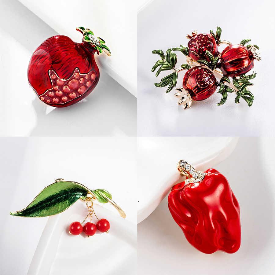 Форма брошь модный красный гранат эмаль для фруктовых женщин зеленый лист вишня броши костюм отворотный штифт одежды шарф значки