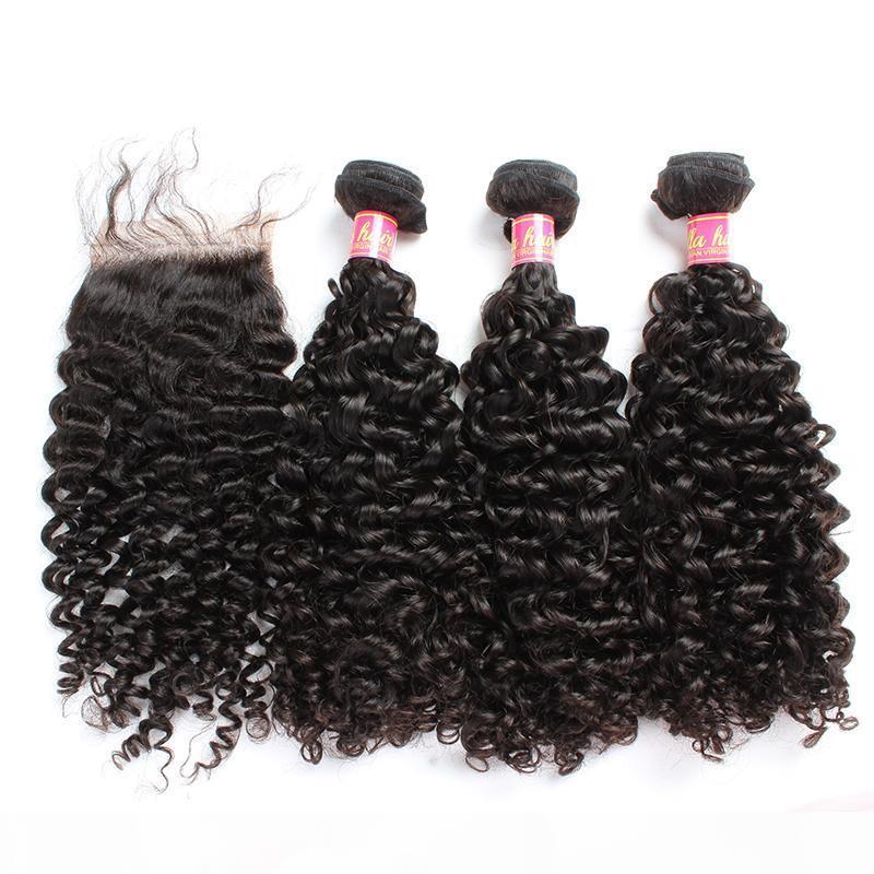 Bella Hair? Hair Bundles with Closure Brazilian Virgin Curly Human Hair Weaves Natural Color Extensions julienchina