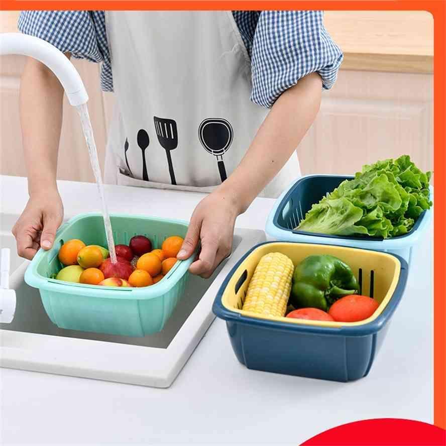 더블 데크 가정용 부엌 냉장고 드레인 야채와 과일 신선한 유지 상자 커버 플라스틱 스토리지 청소 바구니