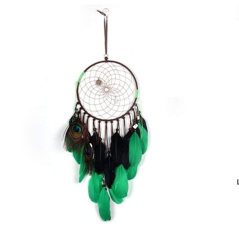 حلم الماسك الرياح الدقات النمط الهندي ريشة قلادة لغرفة النوم دريم الماسك اليدوية الطاووس حلم الماسك الأخضر ديكور المنزل DHF6340