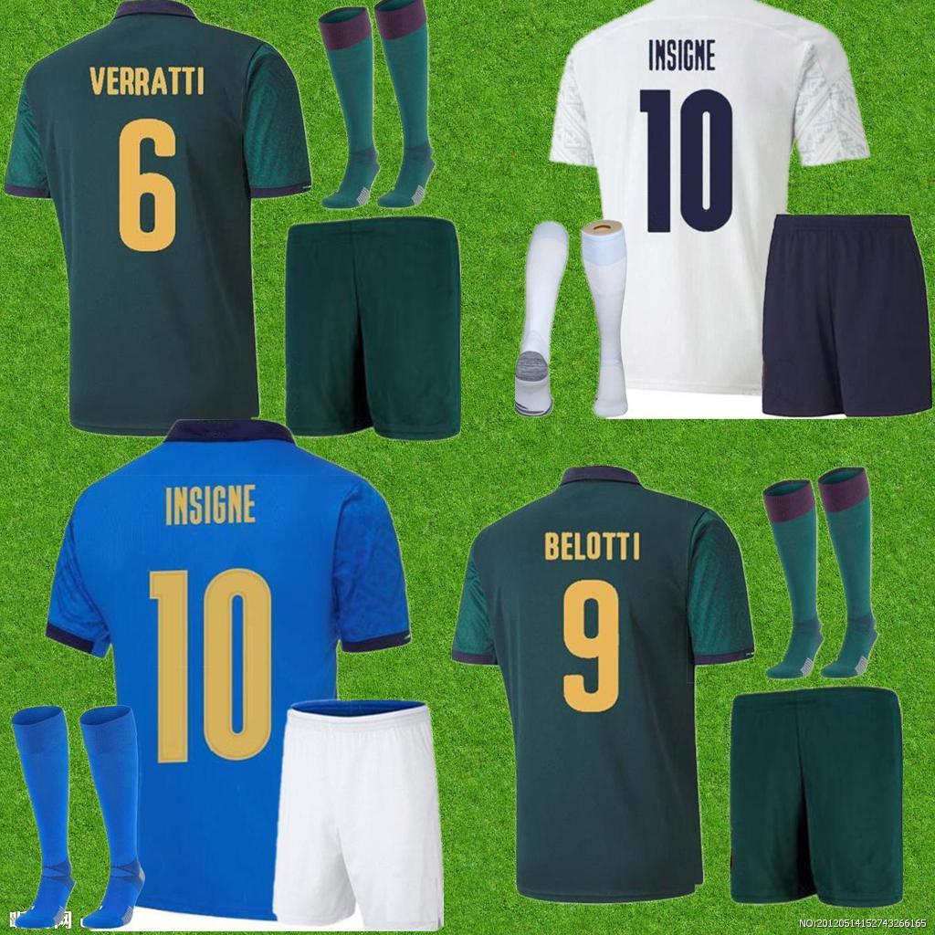 إيطاليا 2021 كرة القدم جيرسي الرئيسية Jorginho El Shaarawy Bonucci Insigne Bernardeschi الرجال الكبار + أطفال كيت قمصان كرة القدم
