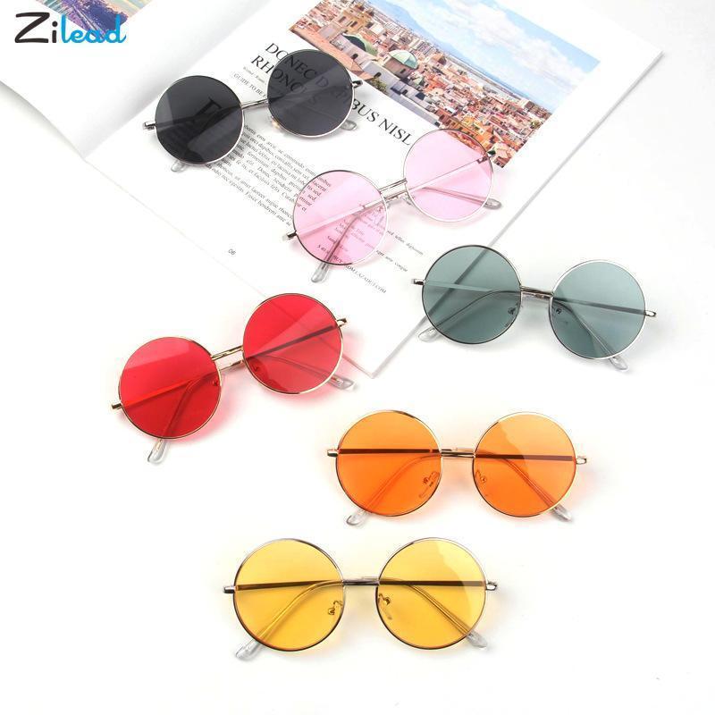 Zilead Mode Retro Runde Kinder Sonnenbrille Jungen Mädchen Sonnenbrille Vintage Chirldren Bunte Metall Baby UV400 Brille