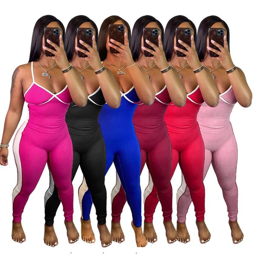 Plus Size 3XL Abbigliamento estivo Summer Color Solid Color Donne Tutesuits Signore Pagliaccetti Sexy One Piece Leggings Spaghetti Cinturino Top backless Nightclub Abbigliamento 4819