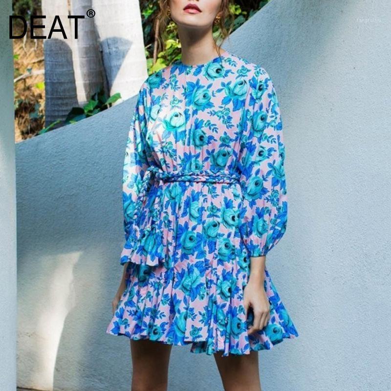 DEAT 2020 round neck lantern three quarter sleeves printed pullover ruffles dress waist belt vacation vestido WM66807L1