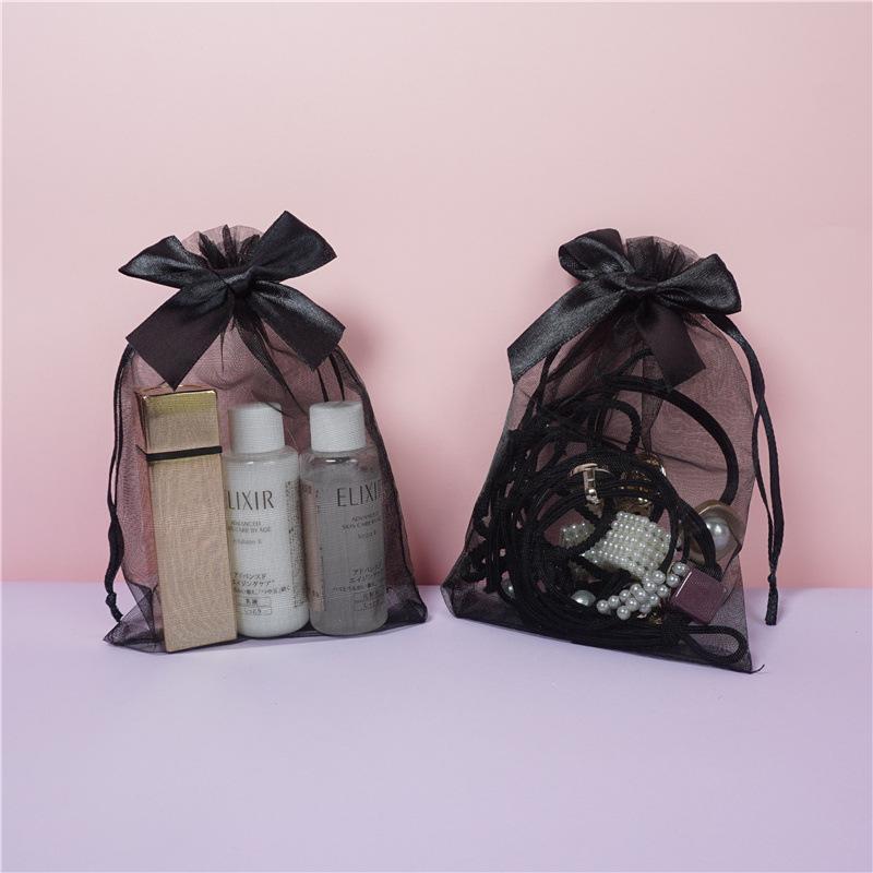 10 * 15 см DrawString Agentsa Bags Bowknot Черный Цвет Прозрачная упаковочная сумка Подарочные сумки Ювелирные Изделия Пакет Candy Bags