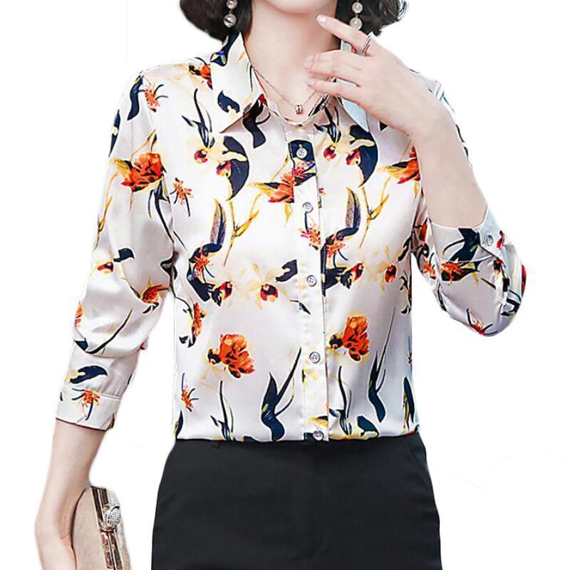 Fashion Bird Print Women Blusa de seda Manga Larga Ol Office Chiffon Camisas Casual Plus Tamaño Tops Blusas Mujer Blusas Mujeres