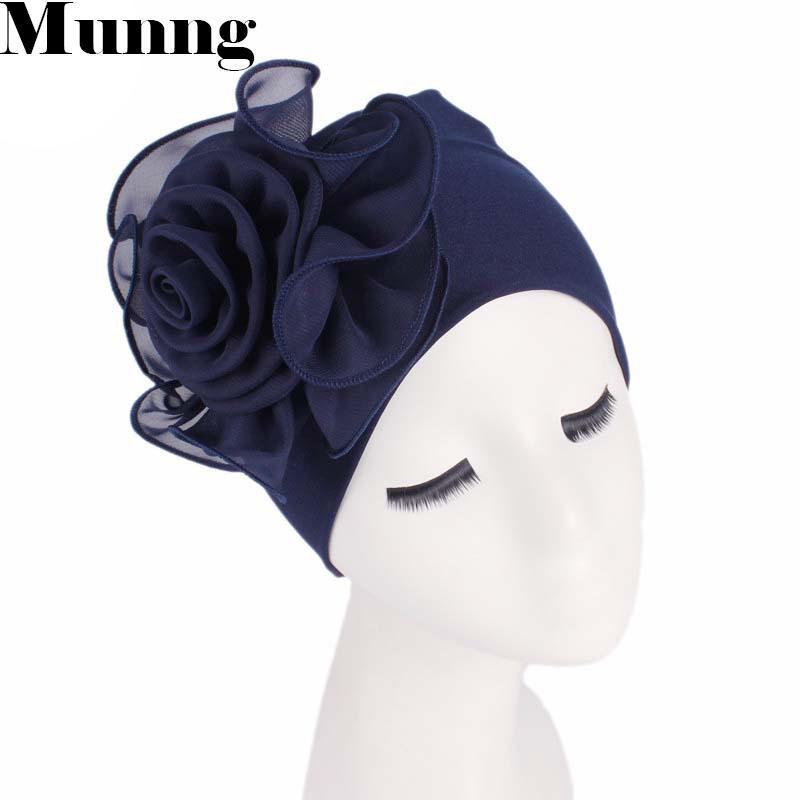 Beanie / Skull Caps Munng Soild Color Cotton Turban para las mujeres Twisted Head Wraps Hat By Bynet Cabezado de cabeza