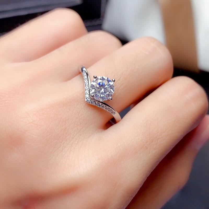 Eheringe Trendy 925 Sterling Silber 2ct Labi Diamant Für Frauen Band Schmuck Cubic Zirkon Stein Verlobungsring