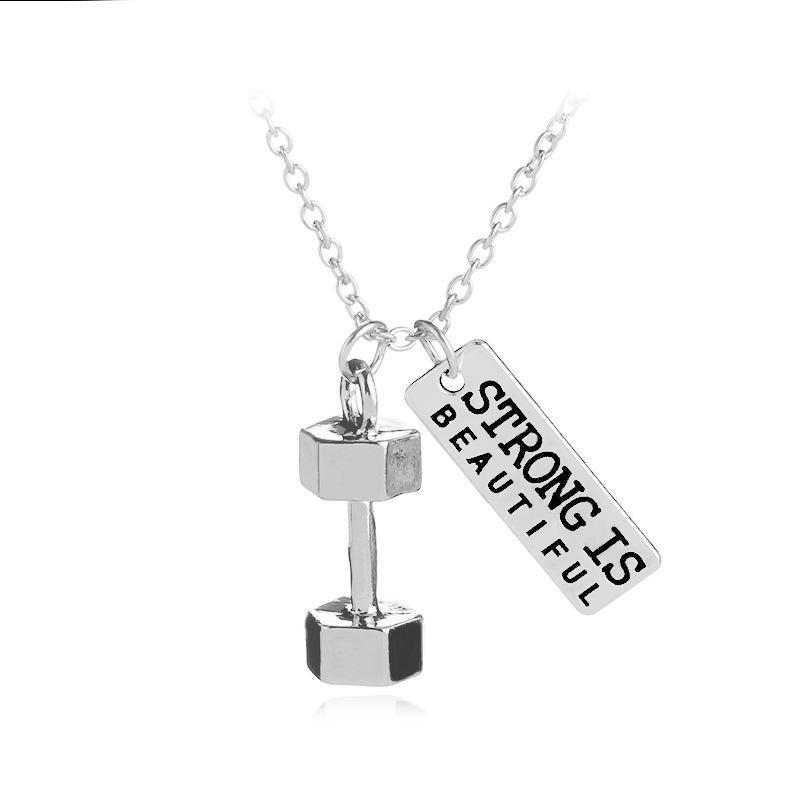 اختر قوة خطابات الإنجليزية kettlebells الصغيرة اللياقة البدنية قوية الجسم قلادة امرأة الأم فتاة هدية الزفاف نعمة مجوهرات قلادة neckl