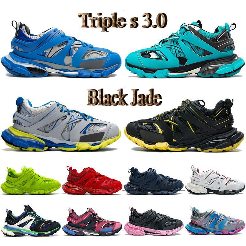 أعلى triple s 3.0 رجل عارضة أحذية ازرق أصفر رمادي أبيض أسود اليشم بورجوندي البحرية المدرب الجير الوردي الرجال النساء أحذية رياضية