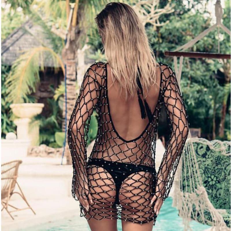 Sexy Voir à travers la couverture Femmes Crochet Mesh Mesh Balage Maillot de bain Été Pêche à manches longues Beach Tops Bikini Transparent Couvre-up Femmes