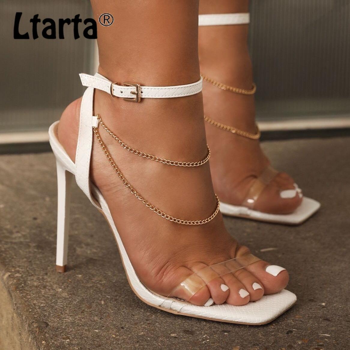 Ltarta verano moda Sandalias Sandalias Stiletto Metal Cadena Abre Toe Toe Strap Hebilla Sandalias para Mujeres CWF-MN639-11 210429