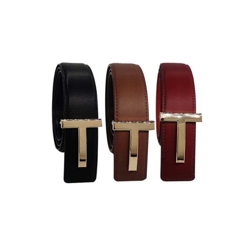 Fashion 3.8cm largo metallo lettera t fibbia oro fibbia sottile cintura sottile donna in pelle cinture in pelle TK cinghie