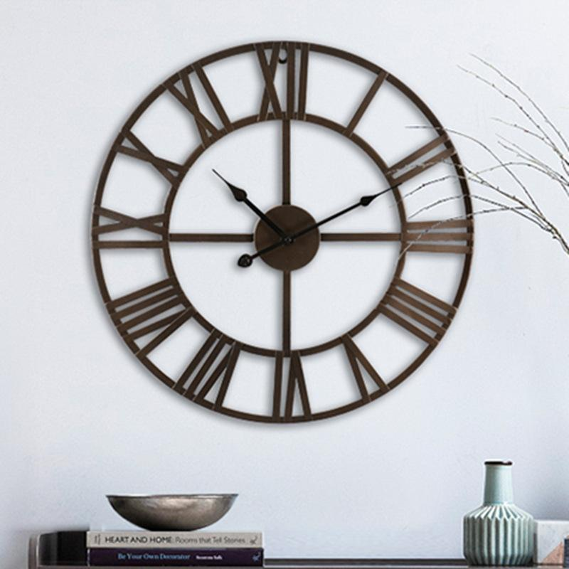 Retro Creative Wall Clock Simple Silent Modern Mechanism Nordic Design Large Size Metal Reloj Pared Watch BW50WC Clocks