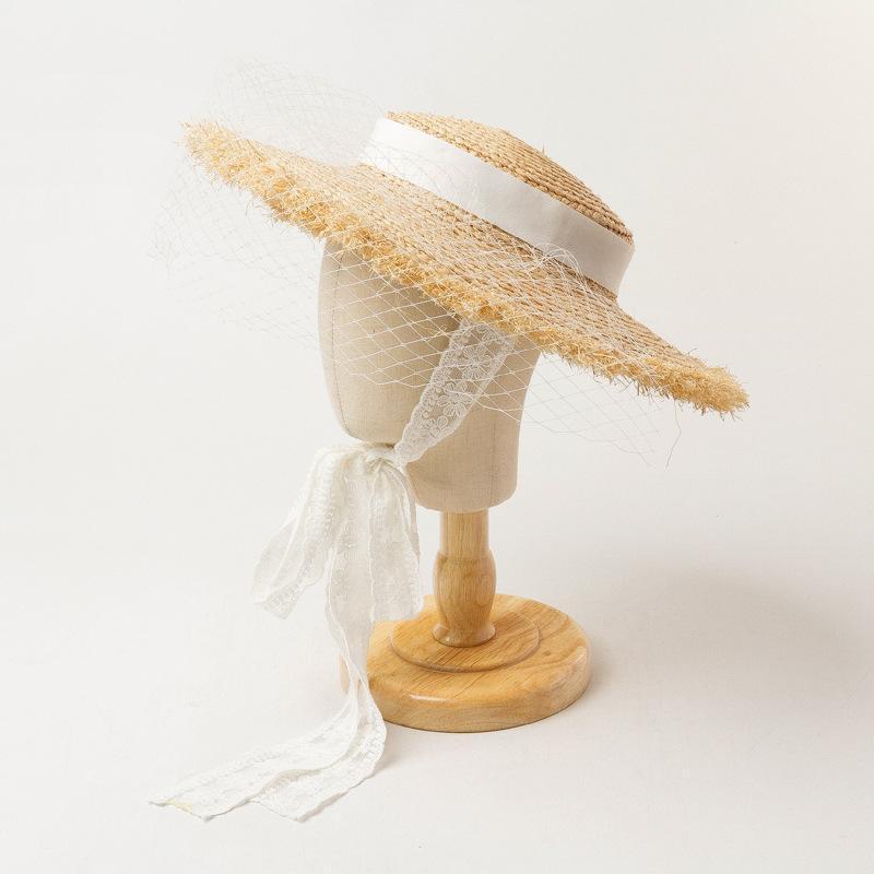 Çocuk Yaz Büyük Brim Fantezi Peçe Beyaz Dantel Yukarı Düz Üst Ile Çocuk Güneş Kız Erkek Koruma Beach Rafya Hasır Şapka Geniş Şapkalar