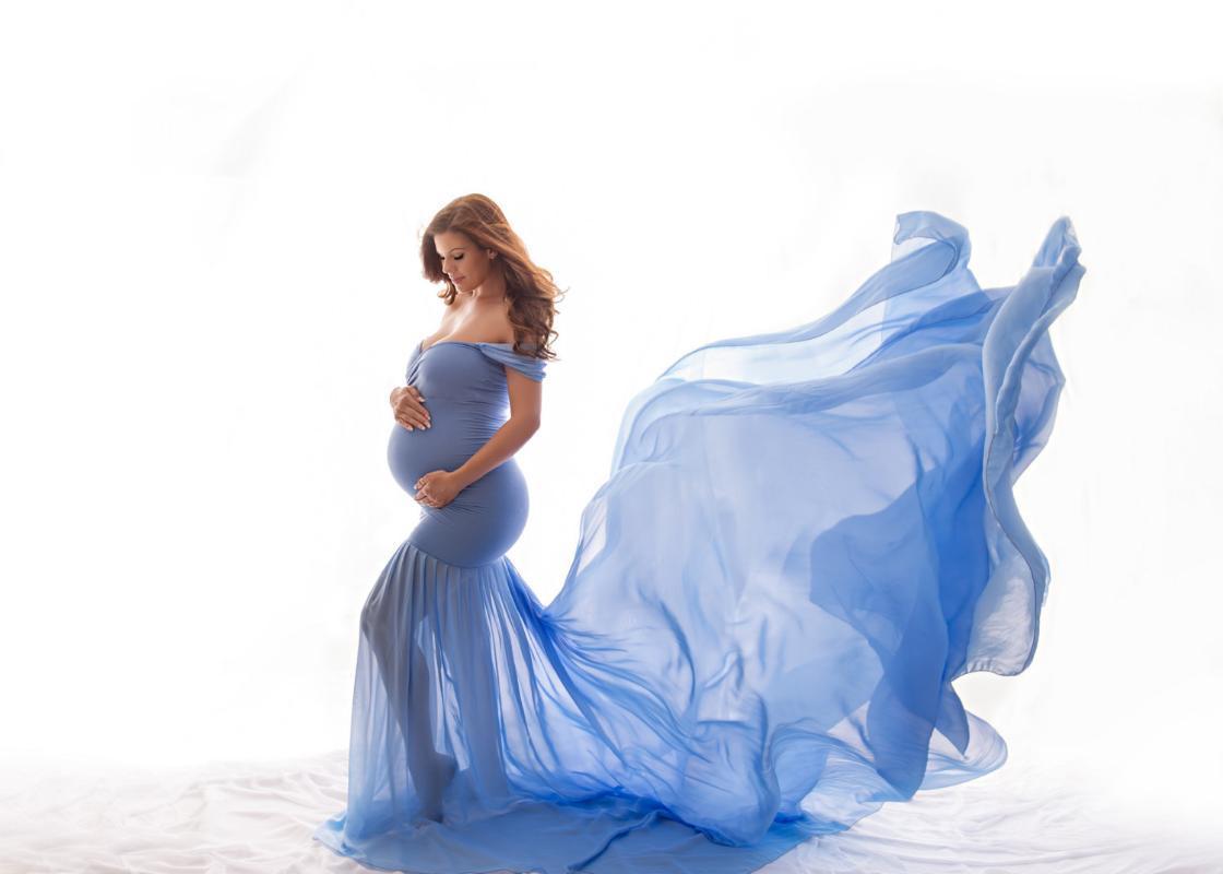 Chiffon Bodysuit Dress para maternidade Pogal adereços Coração Stretchy Vestidos Po cantar roupa casual
