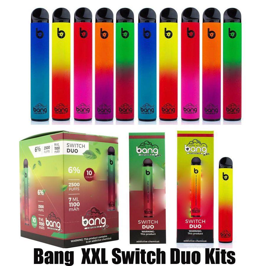 Bang XXL Anahtarı Duo Tek Kullanımlık E-Sigaralar Cihaz Kiti 2500 Puffs 1100 mAh Pil 7 ML Tedbir Pod Kartuşu 2in1 Sopa Vape Pen vs Bar Artı Xtra