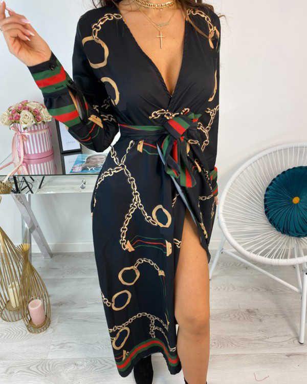 2020 여성 여름 깊은 V 넥 섹시한 높은 허리 벨트 긴 드레스 체인 인쇄 패션 캐주얼 저녁 파티 긴 소매 드레스 Y0603