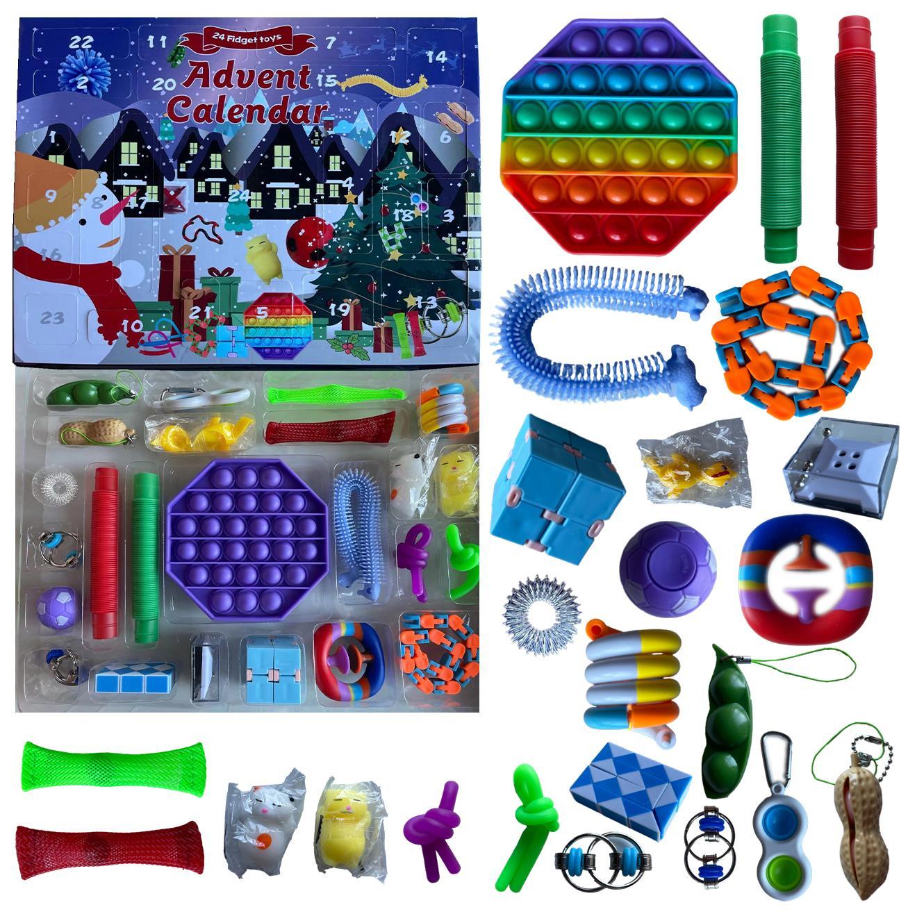 24pcs Set de Navidad Fidget Toys Advent Calender Cajas ciegas Regalos Discomensión simple Juguete Push Bubbles Niños Regalo de Navidad por Sea DH B10051