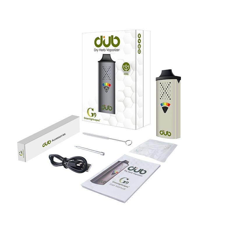 Autêntico GreenLightVapes G9 Dub Kits Vaporizador para Erva Seco Dispositivo de Vapagem Penas Vape Portátil E-Cigarro 1100mAh Tipo-C Cabo USB HapticFeedback com ferramenta de embalagem