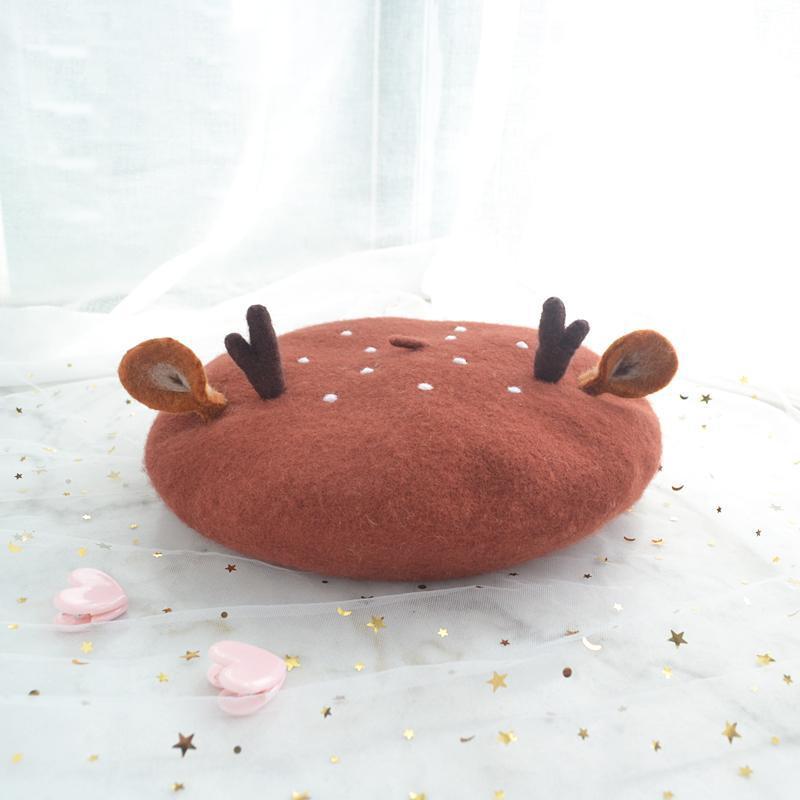사랑스러운 소프트 자매 모리 일본 수제 양모 altlers ear duobei lei 모자 모자 여성 화가 크리스마스 크리스마스 선물 모자 모자