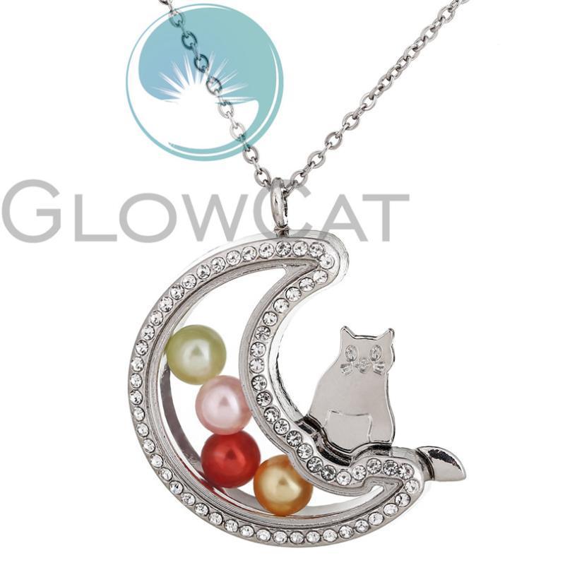 Anhänger Halsketten Regenbogen Mond Katze Magnetische Charme Living Memory Glas Medaillon Perlenkäfig Strass Floating Halskette