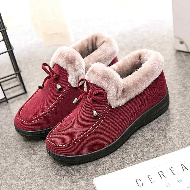 أحذية النساء أحذية الشتاء 2021 أحذية الثلوج جولة اصبع القدم نسيج القطن الانزلاق على شقة مع الخياطة بلون لون منصة الأحذية