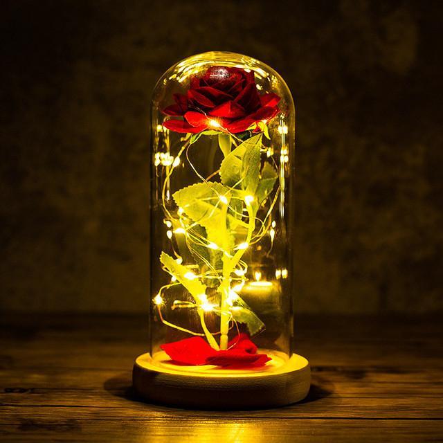 LED gece lambası folyo çiçek cam kapak takımı gelin nedime hediye düğün dekorasyon olay parti dekor beyaz bazlı gül yaprakları ile