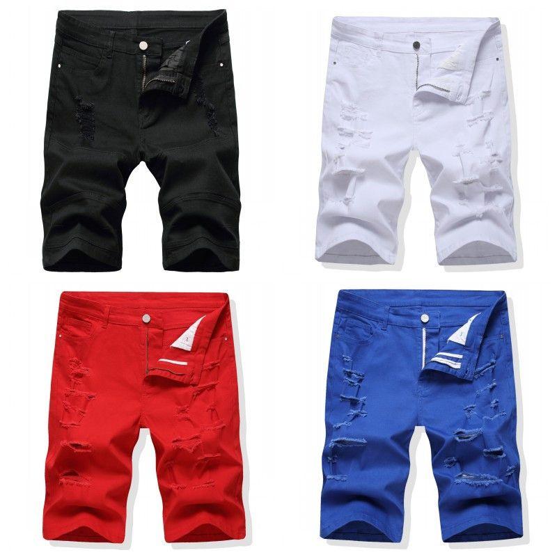 Moda Gelenler Erkekler Denim Şortlar Sıkıntı Yırtık Yok Siyah Beyaz Kısa Kot Pantolon Mans Pantolon