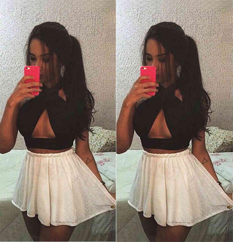 Fashion Sexy Women Halter Backless Vest Bandage Short Tank Tops Vest Camis Solid Cross Neck Hollow Out Strappy Beach Casual Top