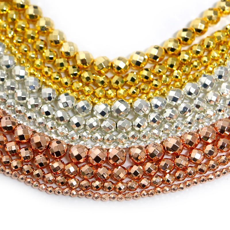 15inches Cuentas de piedra de hematita de oro rosa facetadas naturales para joyería Fabricación de joyas 4/6/8 / 10mm espaciador Bricolaje Bricolaje Collar Otro