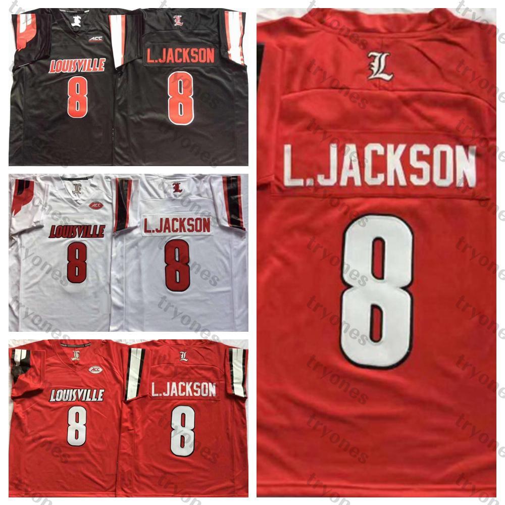 رجل لويزفيل الكاردينال رقم 8 لامار جونسون قمصان جامعة كلية لكرة القدم الفانيلة رخيصة ريترو 8 لامار جونسون الأسود L.Johnson كرة القدم