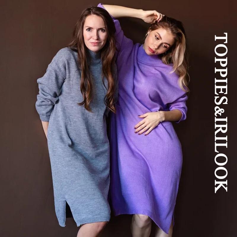 Toppies mulheres vestido de malha casual camisola vestido cor sólida solta pulôvers outono roupas de inverno