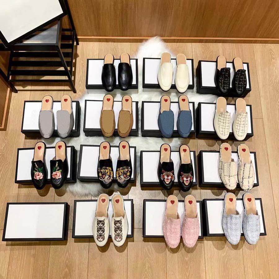 Clásicos Sandalias de moda Zapatillas de felpa Diapositivas Floral Brocade Gear Bottoms Flip Flops Zapatos Rayas Causal Slipper Home011 080