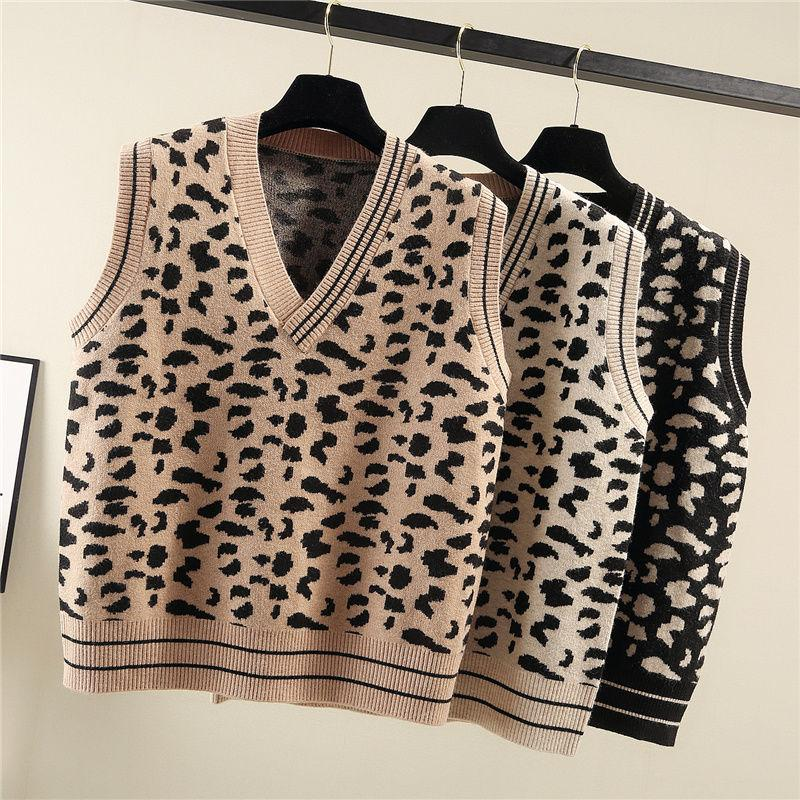 스웨터 조끼 여성 레오파드 V 넥 세련된 레저 느슨한 2XL 가을 겨울 따뜻한 일일 outwear 한국식 패션 모든 일치 ulzzang