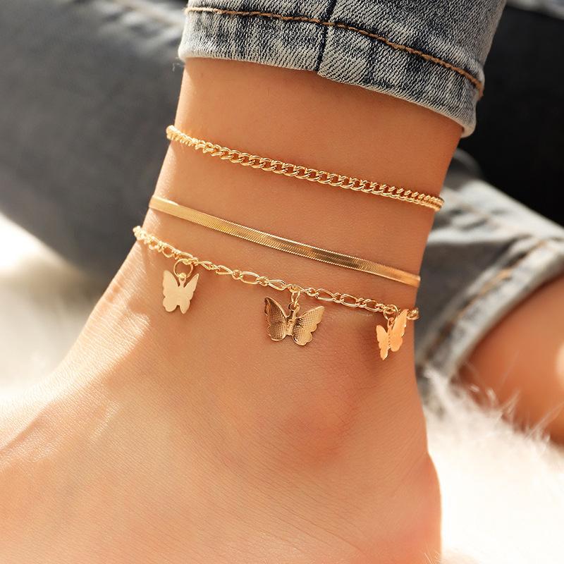 17km البوهيمي الذهب فراشة سلسلة الخلخال مجموعة للنساء الفتيات الأزياء متعدد الطبقات خلخال القدم الكاحل سوار شاطئ مجوهرات 828 R2
