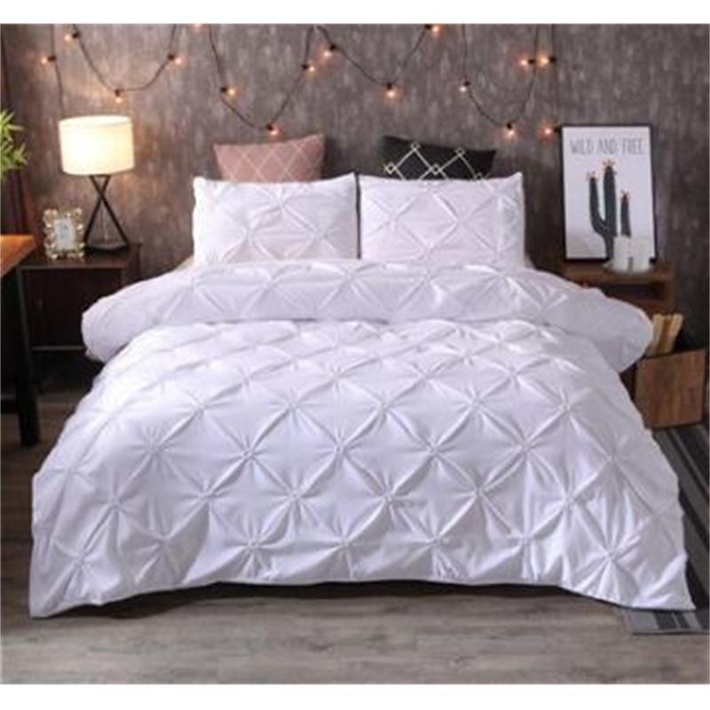 الفاخرة حاف الغطاء الأسود قرصة الطية وجيزة الفراش مجموعة الملكة الملك الحجم 3 قطع السرير الكتان مجموعة المعزي غطاء مجموعة مع pillowcase45 T200110