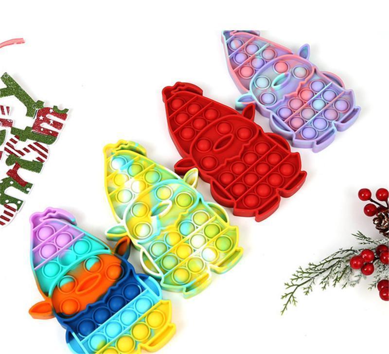 Blase Zappeln Spielzeug für Erwachsene Frohe Weihnachten Antistress Hand Einfache Grübchen Kind Kinder Lustige Stress Reliever Sensory Toys GWA8806
