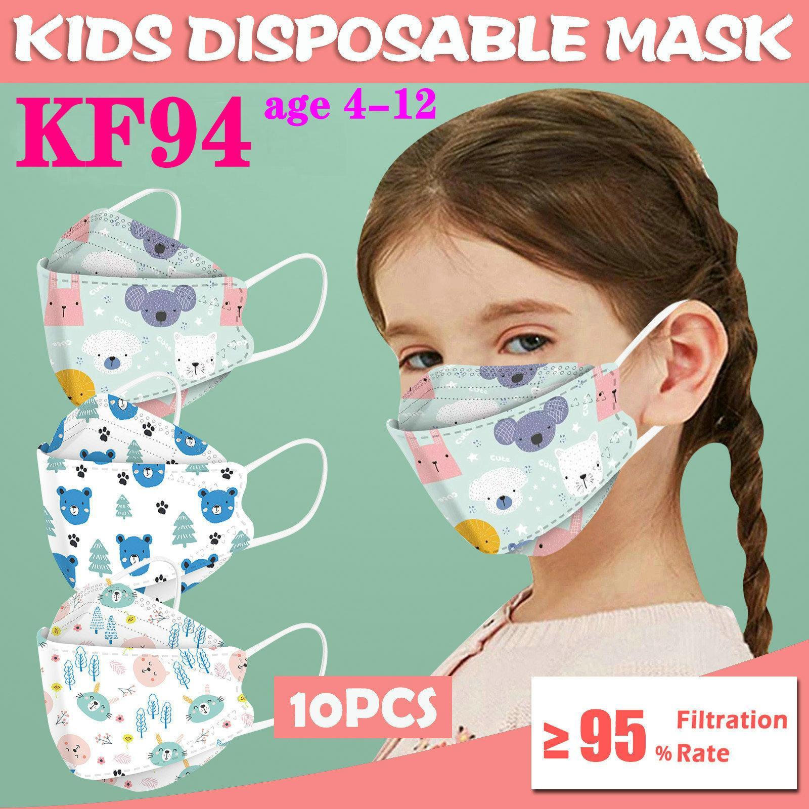 KF94 KN995 per Kid Designer carino stampa maschera viso protezione antipolvere di protezione del salice filtro respiratore FFP2 certificazione CE 10pcs / pack DHL nave in 12 ore