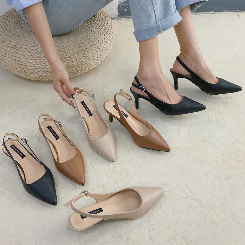 Sandals Sandálias femininas de salto alto, sandália bico fino com slingbacks, sapatos ponta fina, verão 3cm 7cm ol office 9098n IYR7