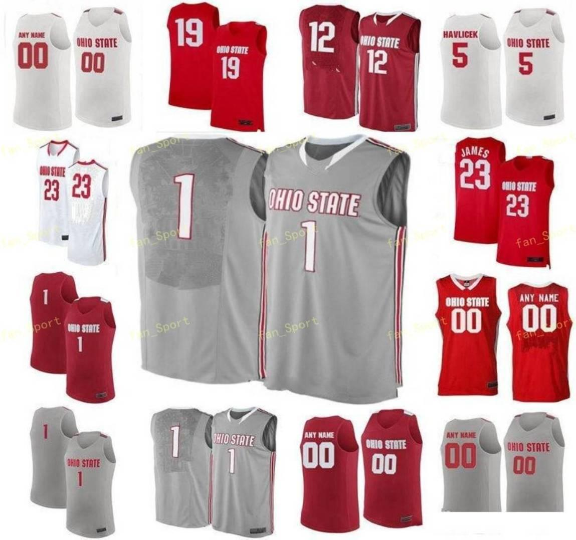 NCAA College Ohio State Buckeyes 농구 저지 0 Russell 1 Conley Luther Muhammad 10 Justin Ahrens 11 Jerry Lucas 사용자 정의 스티치