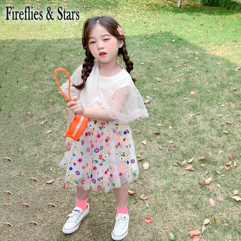 Summer Girls 2 Pcs Set Baby Tee Shirt + Skirt Kids Suits Children Clothes Floral Mesh Sleeve Colorful Embroidey 3 To 9 Yrs Clothing Sets