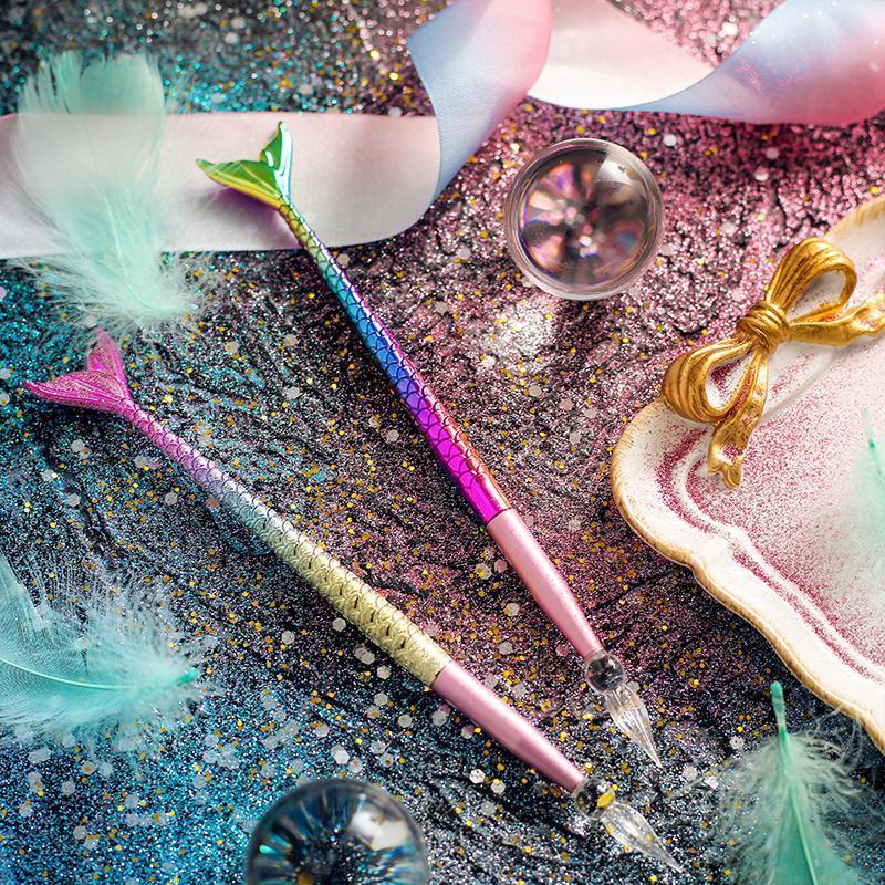 Canetas de fonte sereia gradual mudança de vidro molhar caneta caneta de cristal