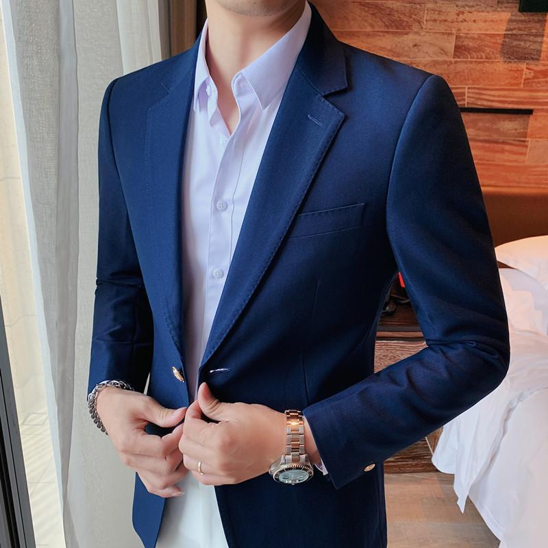 Autumn New Costume Homme Korean Slim Fit Solid Handsome Blazer Jacket Men Clothing 2021 Business Suit Coats 3XL-M